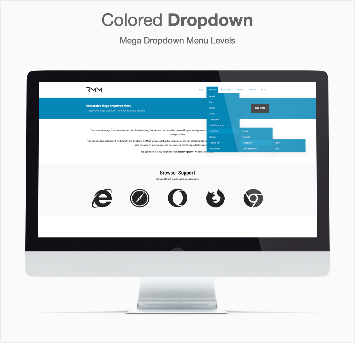Responsive Bootstrap 4 Mega Dropdown Menu (RTL Supported) - Colored Dropdown