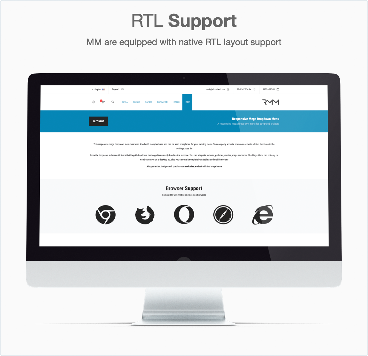 Responsive Bootstrap 4 Mega Dropdown Menu (RTL Supported) - RTL Layout